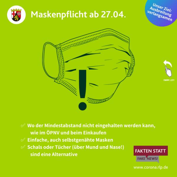 Maskenpflicht ab 27.04.